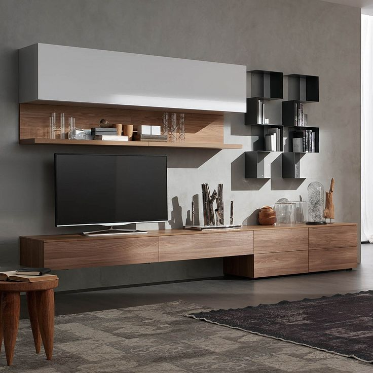 Modern Italian TV media unit 'Wood 3' by Santa Lucia