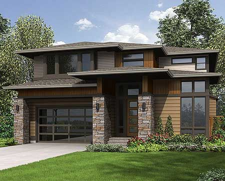 4 bed modern Prairie Style #houseplan 23607JD with bonus room (included in the living area) above the garage.