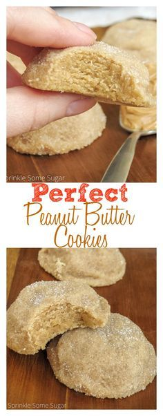 Perfect peanut butter cookies. Incredibly thick and soft cookies loaded with peanut butter and rolled in sugar.