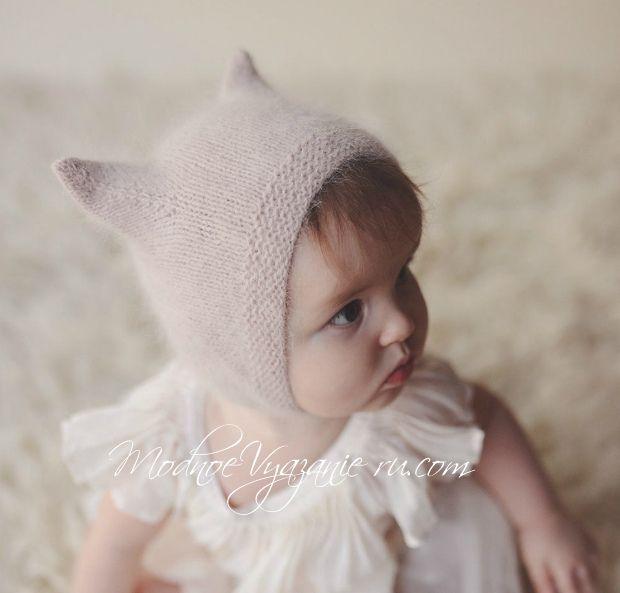 Шапочка Kitty Cap из ангоры для малыша спицами - Модное вязание
