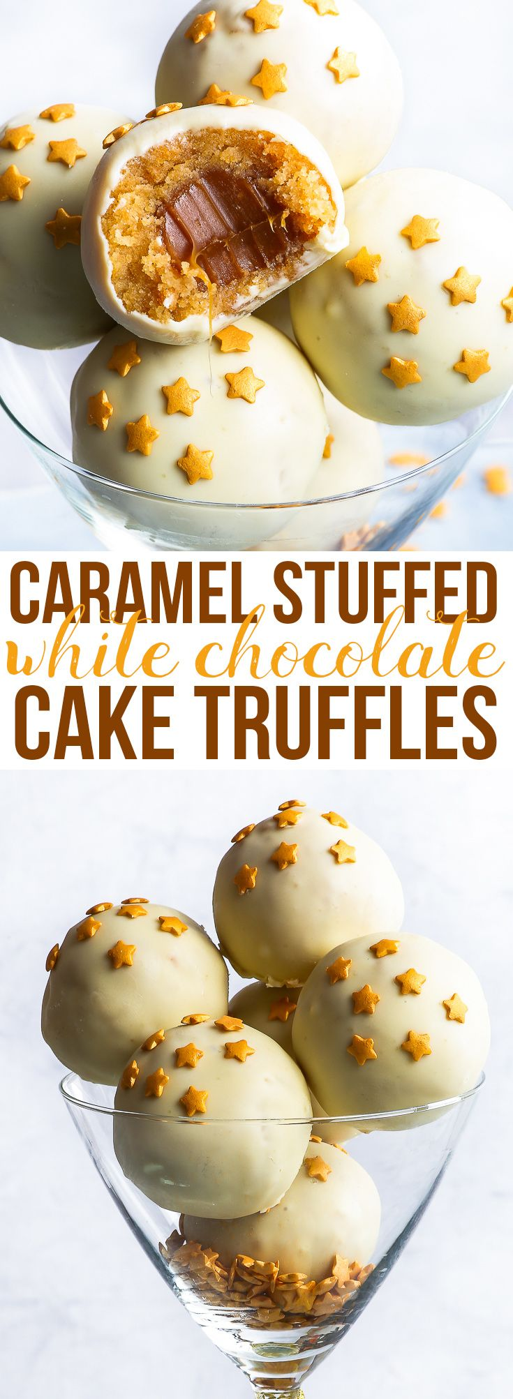 Caramel Stuffed White Chocolate Cake Truffles {gluten, nut & soy free} - These caramel stuffed white chocolate cake truffles are the perfect gluten free party dessert (even if it's a party of one). These gluten free cake truffles contain a caramel centre, a cake pop like mixture surrounding it, a white chocolate shell and a sprinkling of gold star sprinkles. Ridiculously pretty, dangerously delicious and super easy to make, there's nothing not to love about these cake truffles!