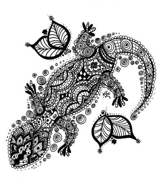 Henna-style gecko, black and white matte photo print by KrystalStudio, $30.00