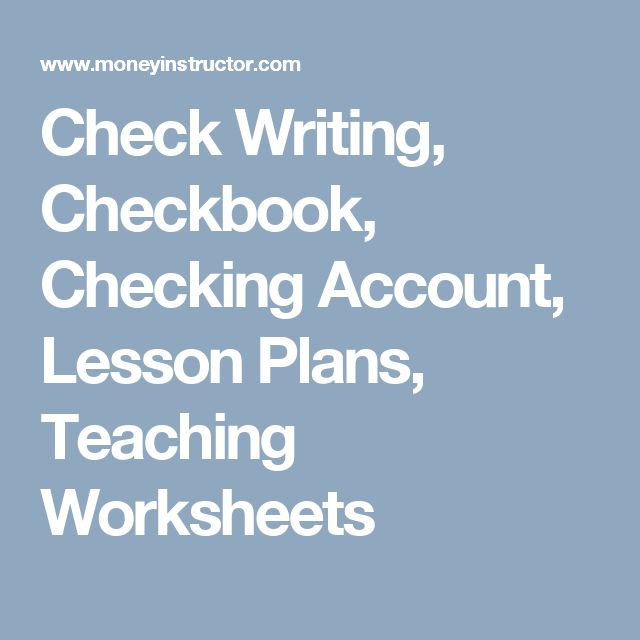 Check Writing, Checkbook, Checking Account, Lesson Plans, Teaching Worksheets
