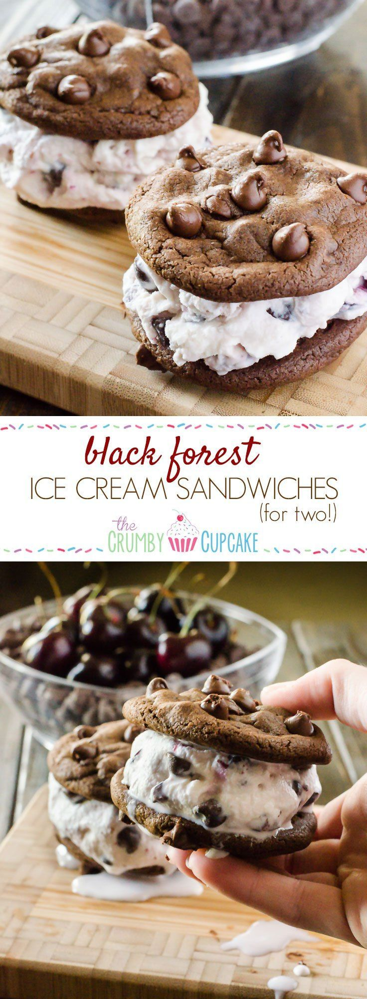 Dying for a cold treat but can't keep them in the house? Whip up these Black Forest Ice Cream Sandwiches for Two and calm your craving! Small batch homemade black forest ice cream sandwiched between two double chocolate chip cookies - summer doesn't get much yummier than this!