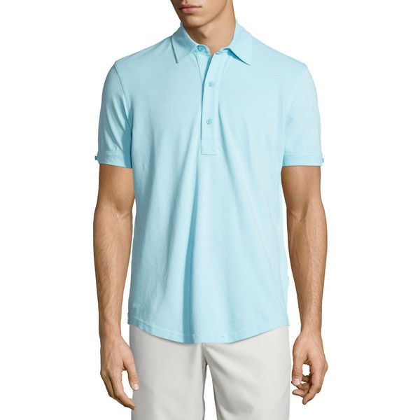 Orlebar Brown Short-Sleeve Pique Polo Shirt ($175) ❤ liked on Polyvore featuring men's fashion, men's clothing, men's shirts, men's polos, turquoise, mens french cuff shirts, mens button shirts, mens long sleeve button shirts, mens long sleeve pullover shirts and mens short sleeve shirts