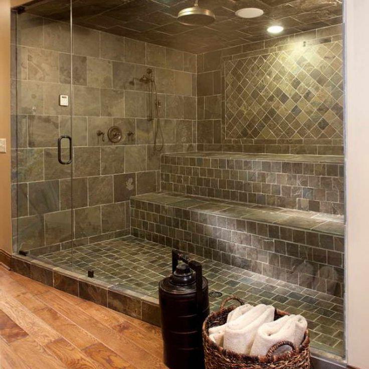 Shower with dark ceramic tile
