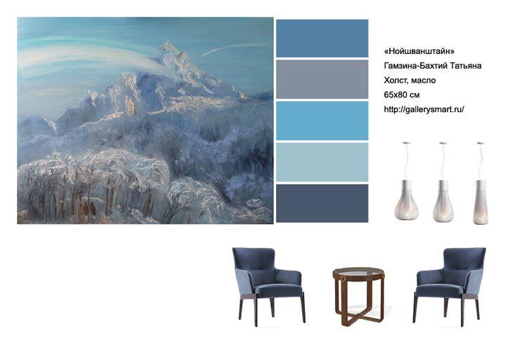 """Работа Гамзиной-Бахтий Татьяны """"Нойшванштайн"""". Нойшванштайн - замок в Баварии, построенный высоко в горах. Морозный день, фантазийные деревья - в совокупности с голубым цветом дают ощущение свежести и прохлады.  Для современного интерьера…"""