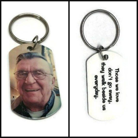 Loss of Dad in loving memory photo keychain | Double sided