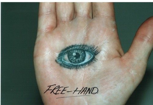 Eye On Palm Of Hand   tattoo by kiss, free hand eye on palm of hand, black and grey