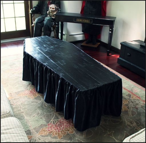 coffin shaped coffee table by Halloween Forum member Hilda.