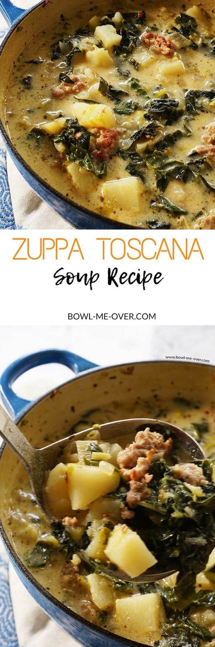 You don't have to go out to your favorite Italian Restaurant to enjoy restaurant style soup at home! Zuppa Toscana Soup is a quick and easy soup - delicious! #zuppatoscanasoup #olivegardencopycat #bowlmeover #easyrecipe via @bowlmeover