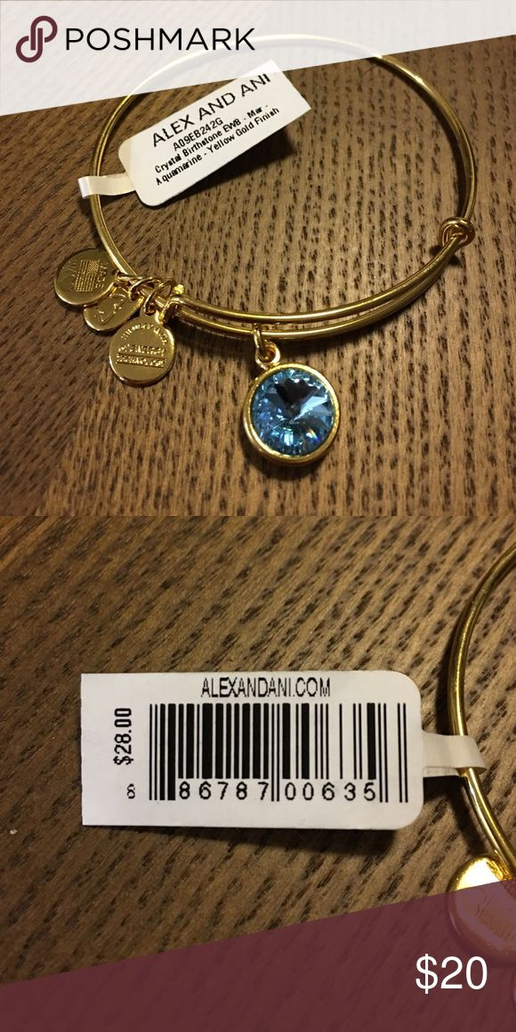 """🍾Buy 2 Get 1🍾 Alex & Ani Bracelet Gold with aquamarine stone (March birthstone). 🍾BUY 2 GET 1 🍾: BUY 2 PIECES OF JEWELRY, GET 1 FREE (of equal or lesser value)! Happy new year! Simply add all of the jewelry that you want to a bundle, make an """"offer"""" on the bundle for any amount, and I will counter with the appropriate price reflecting the buy 2 get 1 discount! Alex & Ani Jewelry Bracelets"""