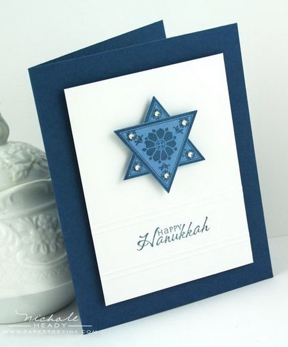 Homemade Hanukkah Menorah Cards are of beautiful blue and white colors that…