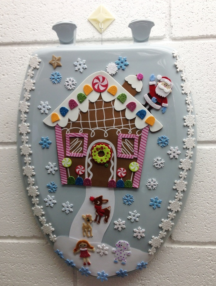 #12 - Gingerbread house toilet seat wreath
