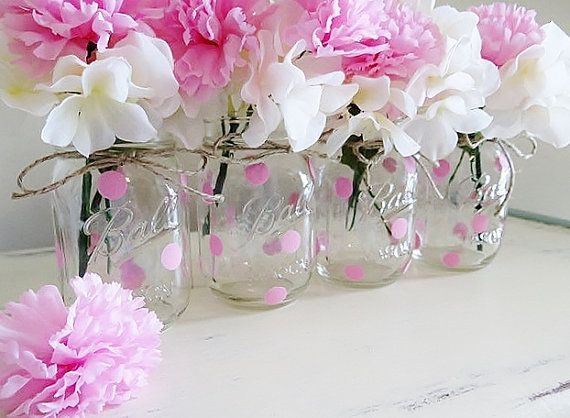 Pink Polka Dot Mason Jar Centerpieces, Baby Shower Mason Jars, Pink Polka Dots, Mason Jar Decor, Painted Ball Jars, Pink Centerpieces, Vases