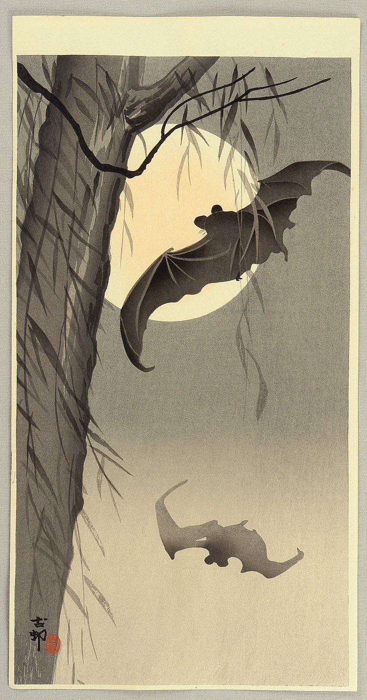 Ohara Koson Flying Bats early 20th century. 小原古邨