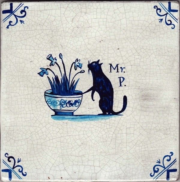 "Paul Bommer puts ""Mr. P."" on a delft tile"