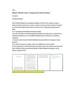 No Child Left Behind  The No Child Left Behind Act, the landmark legislation created in 2002, continues to make an impact on education today. However, there is a push to revise many elements of this act.… (More)