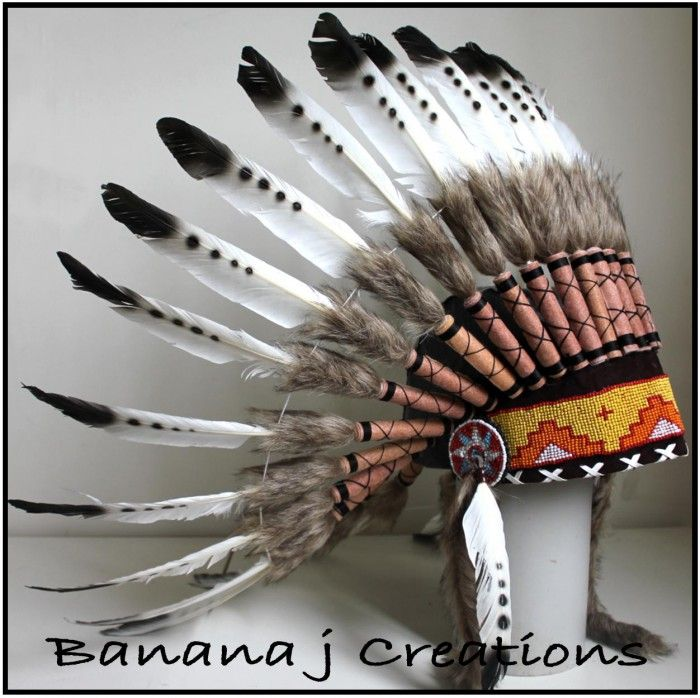 Magpie Headdress LEATHER Front - Banana j Creations