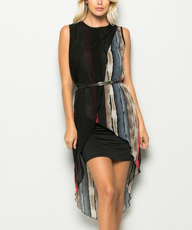 Another great find on #zulily! Black Stripe Crossover Belted Hi-Low Dress #zulilyfinds