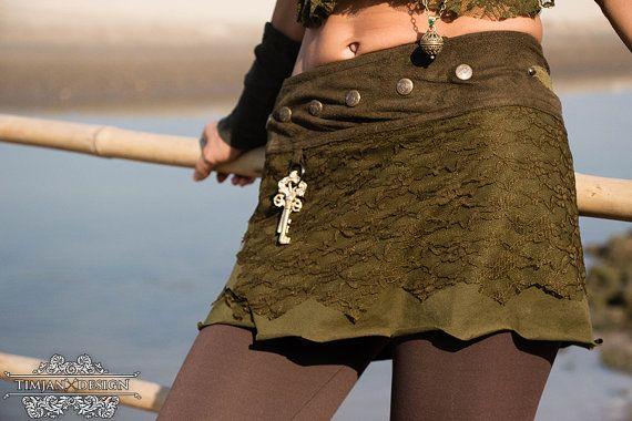 SHORT PIXIE SKIRT  Fairy Faery Hippie Boho Organic by TimjanDesign