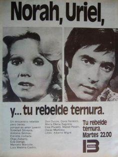 """Soledad Silveyra y Antonio Grimau en una publicidad de la telenovela argentina """"Tu rebelde ternura"""""""