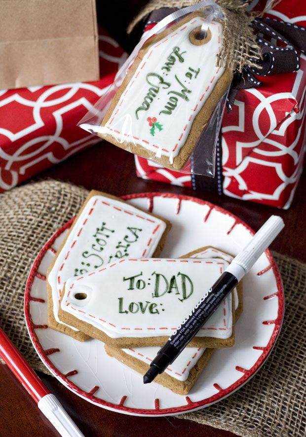 Adorable! Gingerbread gift tag cookies! via ericassweettooth.com (Curated for BlogHer Loves Holiday Cookies sponsored by BankAmericard Cash Rewards™ credit card)