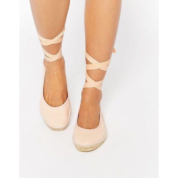 ASOS JEMIMA Ballet Tie Leg Espadrilles ($12) ❤ liked on Polyvore featuring shoes, flats, beige, flat pumps, espadrille flats, woven flats, beige espadrilles and beige flats