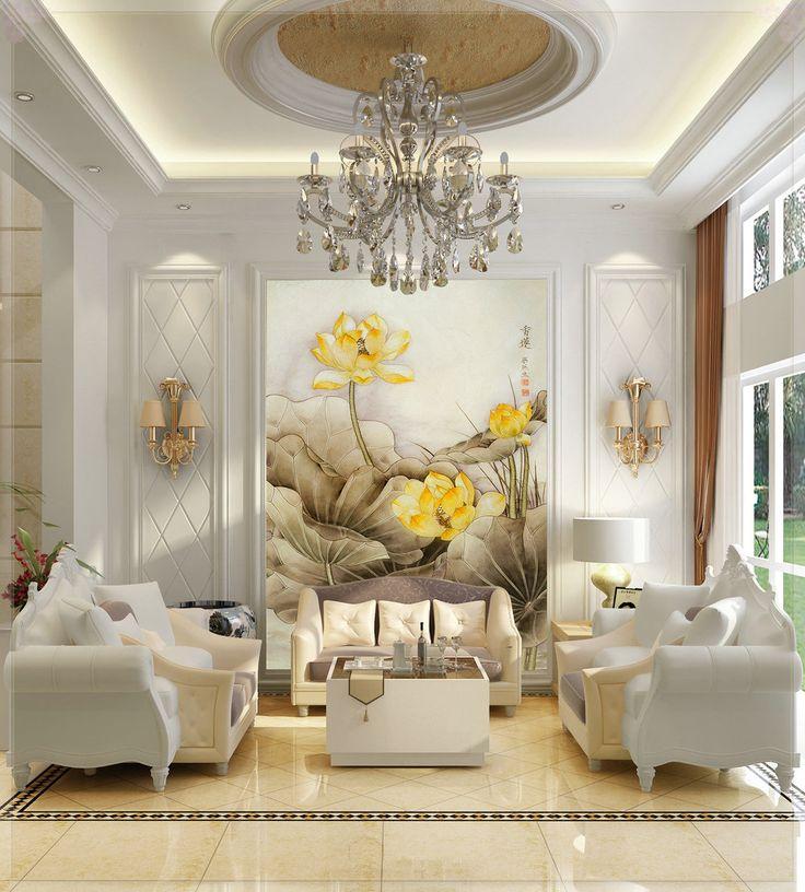 Sofá moda mural saguão Tv fundo papel de parede 3d pintura de ouro tapete 3d(China (Mainland))