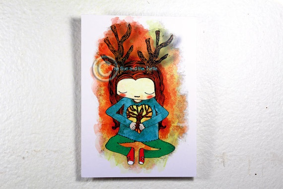 Limited edition Art print Tree Girl Postcard by thesunandtheturtle, $2.50
