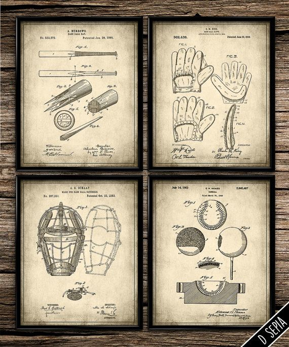 Patent Baseball Set | Vintage Prints | Patent Print | Baseball | Man Cave | Home Decor | Printable Wall Art | Vintage Wall Art | 8x10 |