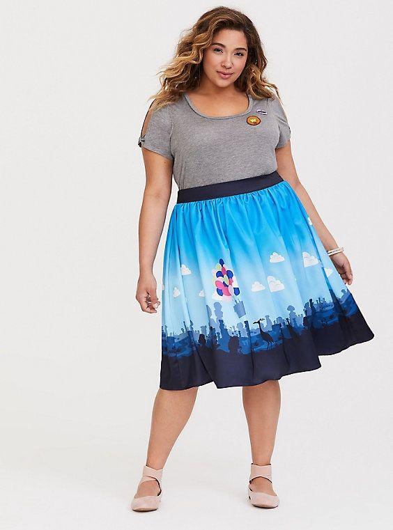 948b20c23c45dd Disney Pixar Up Boarder Print Satin Skirt, MULTI, hi-res Women's Plus Size