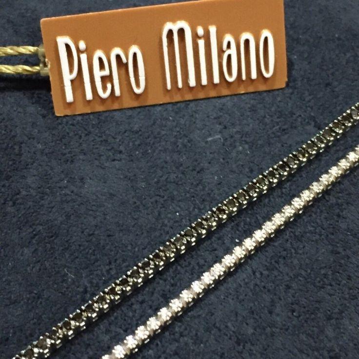 Bracciali tennis oro bianco 750 con brillanti neri e bianchi n.1,03 b 0,40#gioielli