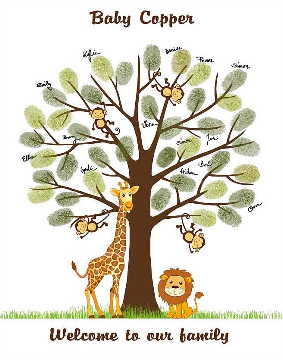 Safari Baby Shower Finger print Tree Guest Book Poster