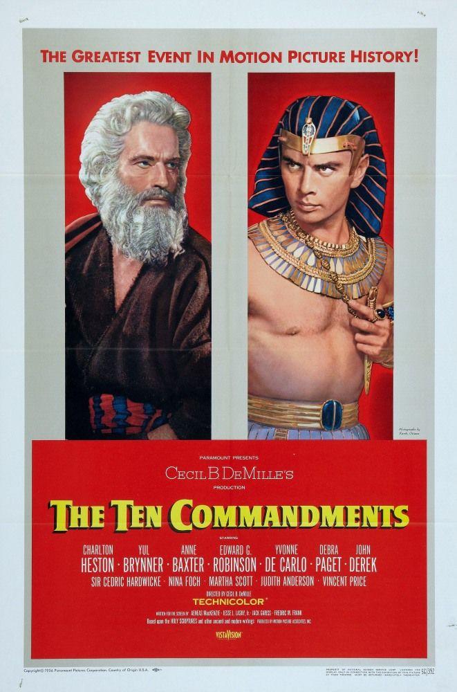 Десять заповедей (The Ten Commandments) Эпический эпик! ВАУ! Настоящая история про супергероя. Красота пейзажей Звездных войн, противостояние зла и добра  утрированное и мультипафосное в чем превосходит даже Мстителей, Юл Бриннер местами играет невероятно, а иногда включает идеального Робокопа, единственный существенный минус, отсутствие гигантских монстров. Если серьезно, не смотря на весь цирк и театральность, размах впечатляет! Без преувеличения грандиозное кино, учитывая 56-й год.