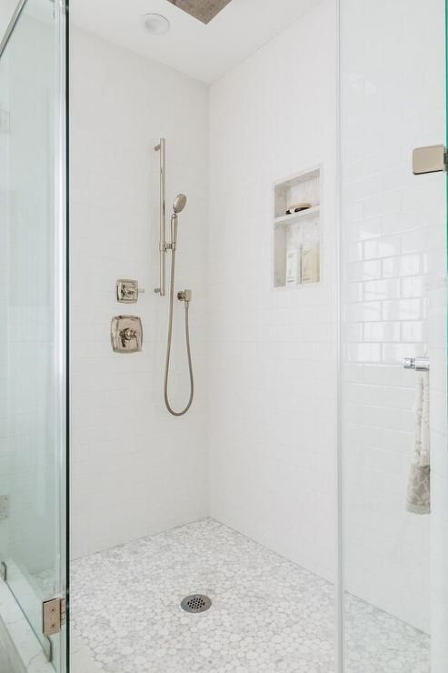 White And Gray River Rock Shower Floor Tiles Invite A