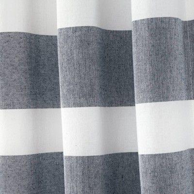 Cape Cod Stripe Yarn Dyed Cotton Shower Curtain Navy White Lush