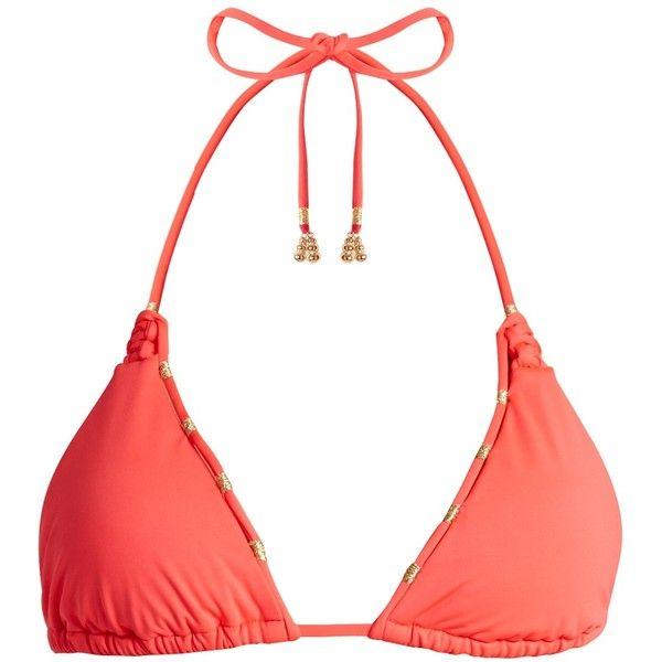 Biondi Sierra triangle bikini top (45.070 CLP) ❤ liked on Polyvore featuring swimwear, bikinis, bikini tops, gold metallic bikini, biondi, pink bikini, pink triangle bikini and pink triangle bikini top