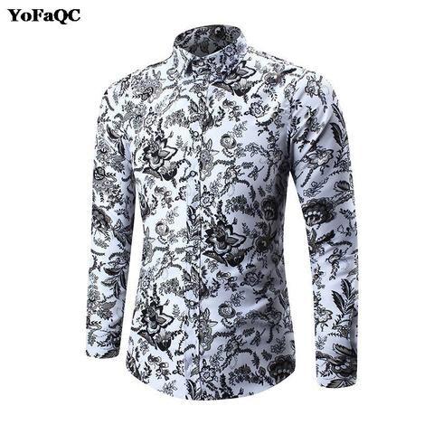 978a9eb29f5 2018 New Spring Floral Print Men Shirts Long Sleeve Mens Casual Shirt Slim  Men Flower camisa masculina Printing Dress Shirts 5XL