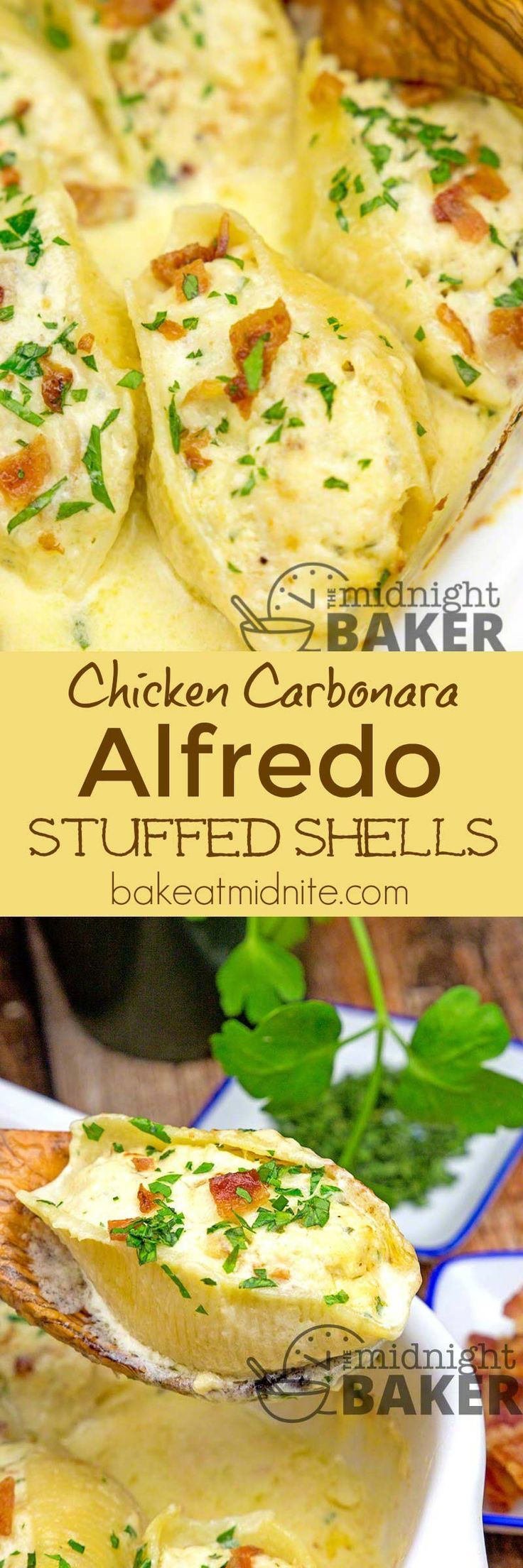 Delicious shells stuffed with a chicken carbonara flavored stuffing and baked in a rich cheesy alfredo sauce