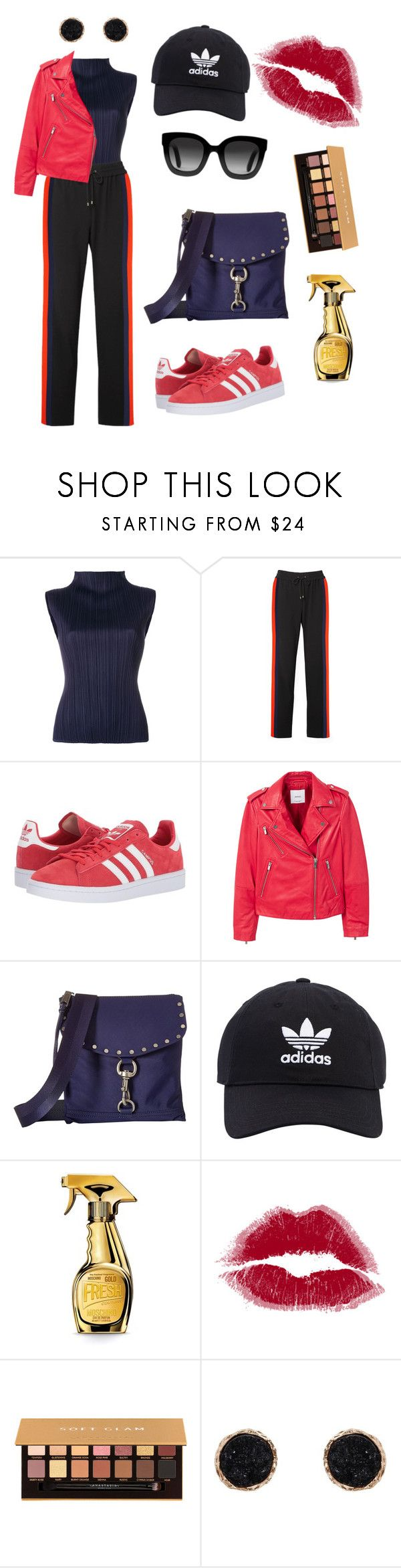 """""""Sporty look"""" by izy-vilela ❤ liked on Polyvore featuring Pleats Please by Issey Miyake, Kenzo, adidas Originals, MANGO, Rebecca Minkoff, Moschino, Anastasia Beverly Hills, Humble Chic and Gucci"""