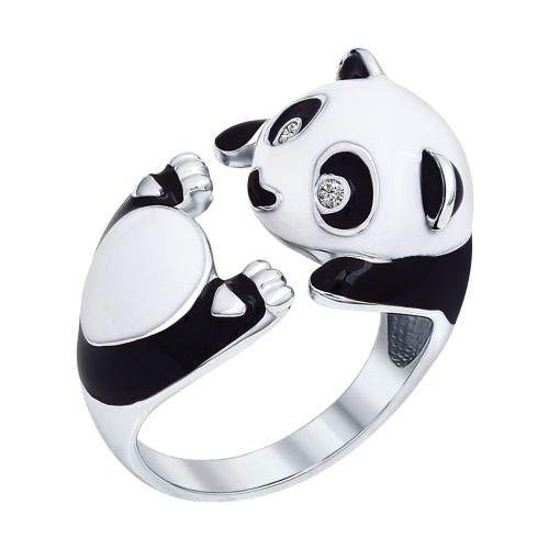 Panda Ring with Enamel