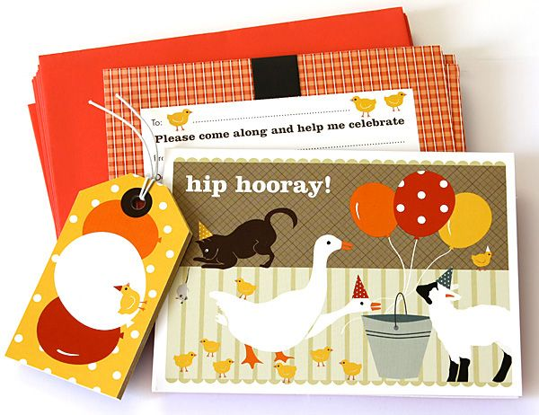 Hip Hooray, its time for your child's party full of farm animal fun. Invitation and Party Bag Name Tags from KatyJane Designs