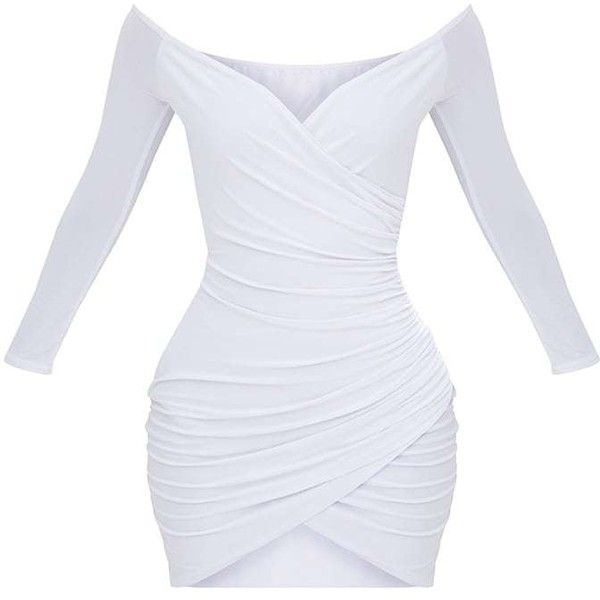 Shape White Ruched Bardot Bodycon Dress ($40) ❤ liked on Polyvore featuring dresses, shirred dress, shirring dress, gathered dress, white color dress and bodycon dress