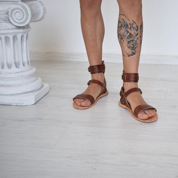 Cadeau pour hommes, sandales hommes gladiateur, homme, couleur marron, sandales de Sparte à la main par, cadeau homme, sandales en cuir véritable de haute qualité,
