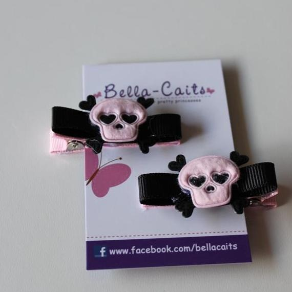 $3.50 Pink and Black Skulls Hair Clips by Bella-Caits on Handmade Australia
