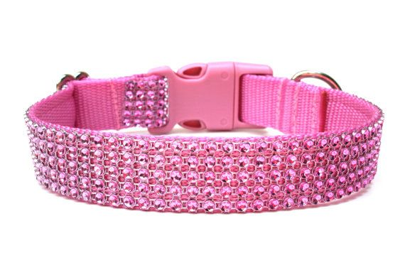 Rhinestone Dog Collar by Wagologie  Custom Dog Collar handmade in California!    Beautiful and luxurious pink rhinestone dog collar! Made with 5 fabulous layers of a pink rhinestone design that actually holds no stones but shines like diamonds. This rhinestone dog collar has soft pink webbing and a matching pink buckle. This is a perfect collar if you love the design of rhinestone but are afraid of loosing them.    This listing is for a rhinestone dog collar 1 perfect for medium to large…