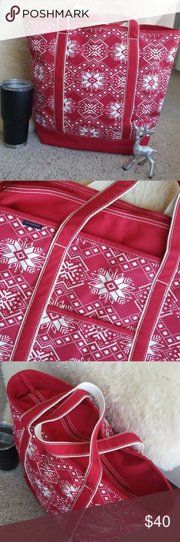"""Lands End Nordic Canvas Extra-Large Tote Rare retired design, looks like a Christmas snowflake Nordic sweater. Rugged 24oz canvas tote will stand the test of time, water resistant base & trim. Reinforced bottom & handles, zipper closure, tons of inside pockets & one outside. This bag is brand new, only removed from it's plaatic protective bag for pics. Base is 13x9.5"""", 16"""" tall, 22"""" across top - this is Lands Ends largest bag that really could be an overnight/weekends! Smoke-free home…"""