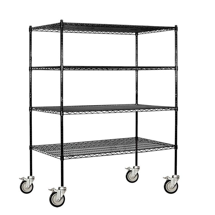9500M Series 60 in. W x 69 in. H x 24 in. D Industrial Grade Welded Wire Mobile Wire Shelving in Black