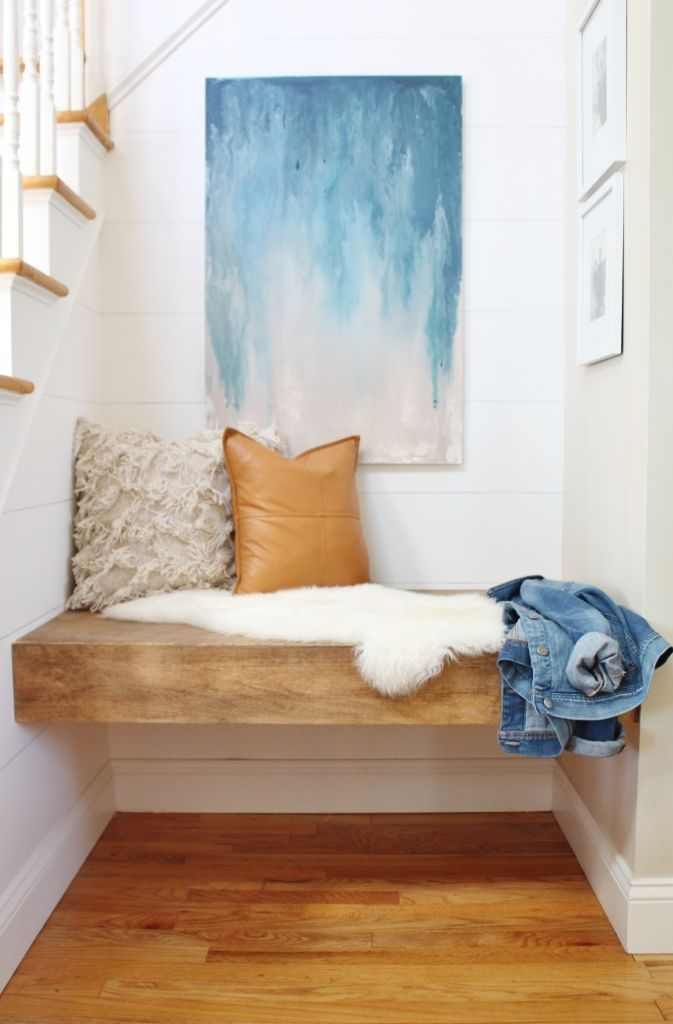 DIY Floating Bench + Abstract Art